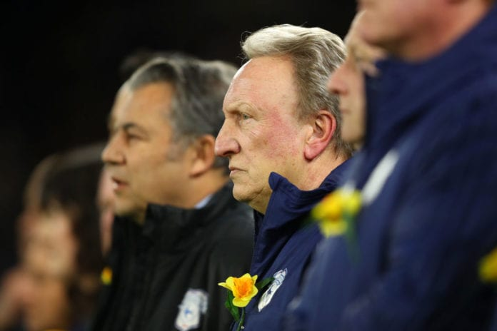 CARDIFF, WALES - FEBRUARY 02: Neil Warnock, Manager of Cardiff City takes part in a minute of silence in respect to Emiliano Sala during the Premier League match between Cardiff City and AFC Bournemouth at Cardiff City Stadium on February 2, 2019 in Cardiff, United Kingdom. (Photo by Warren Little/Getty Images)
