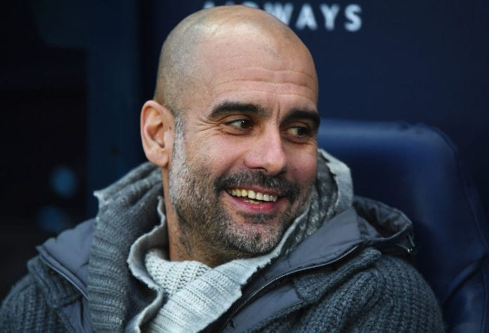 MANCHESTER, ENGLAND - FEBRUARY 03: Josep Guardiola, Manager of Manchester City looks on prior to the Premier League match between Manchester City and Arsenal FC at Etihad Stadium on February 3, 2019 in Manchester, United Kingdom. (Photo by Stu Forster/Getty Images)