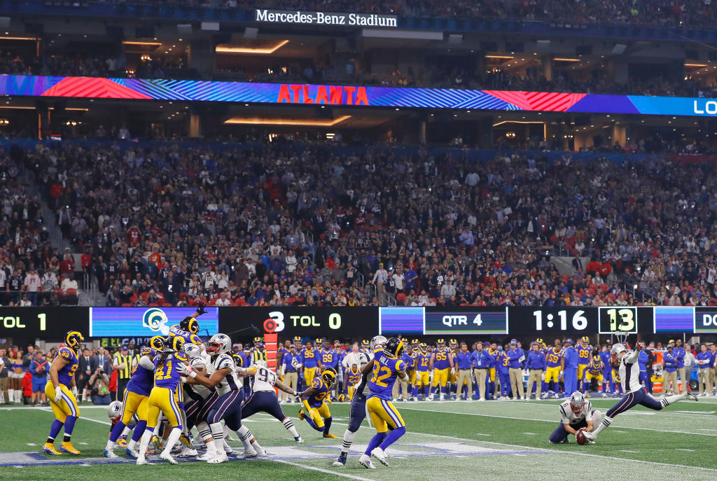 ATLANTA, GA - FEBRUARY 03: Stephen Gostkowski #3 of the New England Patriots scores his second field goal in the fourth quarter during Super Bowl LIII at Mercedes-Benz Stadium on February 3, 2019 in Atlanta, Georgia. (Photo by Kevin C. Cox/Getty Images)