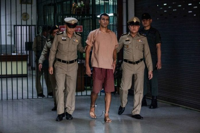 BANGKOK, THAILAND - FEBRUARY 04: The departure of Hakeem al-Araibi, a refugee footballer, from Bangkok's Criminal Court on February 4, 2019 in Bangkok, Thailand. The Thai court is hearing the request to extradite the Bahraini football player, who was detained in Bangkok during his honeymoon. (Photo by Lauren DeCicca/Getty Images)