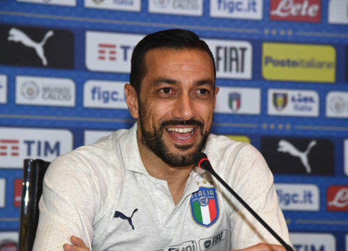 FLORENCE, ITALY - FEBRUARY 04: Fabio Quagliarella of Italy speaks with the media during a press conference at Centro Tecnico Federale di Coverciano on February 4, 2019 in Florence, Italy. (Photo by Claudio Villa/Getty Images)