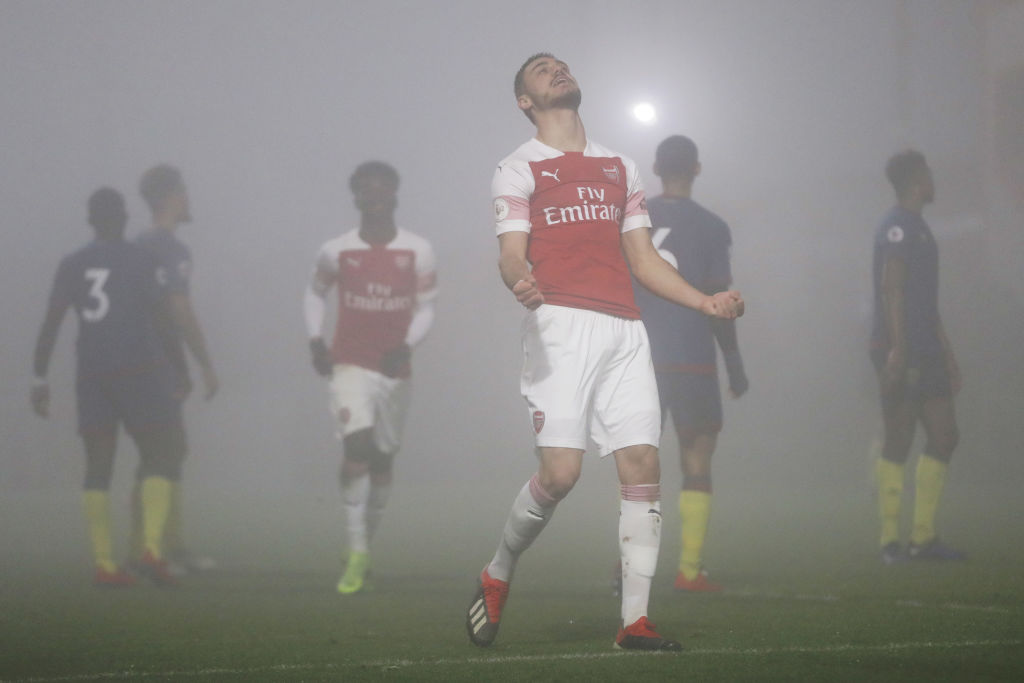 BOREHAMWOOD, ENGLAND - FEBRUARY 04: Konstantinos Mavropanos of Arsenal celebrates after he scores his sides third goal during the Premier League 2 match between Arsenal and West Ham at Meadow Park on February 4, 2019 in Borehamwood, England. (Photo by Naomi Baker/Getty Images)