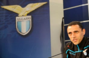 ROME, ITALY - FEBRUARY 06: Romulo new signing of SS Lazio attends the SS Lazio press conference on February 6, 2019 in Rome, Italy. (Photo by Marco Rosi/Getty Images)