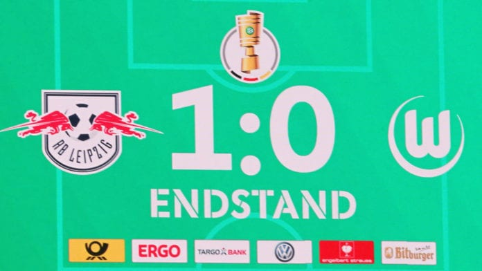 LEIPZIG, GERMANY - FEBRUARY 06: Scoreboard - the match ends 1:0 during the DFB Cup between RB Leipzig and VfL Wolfsburg at Red Bull Arena on February 06, 2019 in Leipzig, Germany. (Photo by Karina Hessland-Wissel/Bongarts/Getty Images)