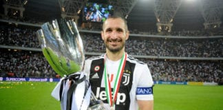 JEDDAH, SAUDI ARABIA - JANUARY 16: Giorgio Chiellini of Juventus celebrates after winning the Italian Supercup match between Juventus and AC Milan at King Abdullah Sports City on January 16, 2019 in Jeddah, Saudi Arabia. (Photo by Marco Rosi/Getty Images for Lega Serie A)