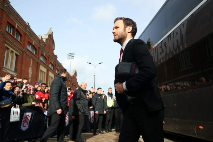 LONDON, ENGLAND - FEBRUARY 09: Juan Mata of Manchester United arrives at the stadium prior to the Premier League match between Fulham FC and Manchester United at Craven Cottage on February 9, 2019 in London, United Kingdom. (Photo by Catherine Ivill/Getty Images)