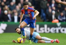 LONDON, ENGLAND - FEBRUARY 09: Andros Townsend of Crystal Palace is challenged by Robert Snodgrass of West Ham United during the Premier League match between Crystal Palace and West Ham United at Selhurst Park on February 9, 2019 in London, United Kingdom. (Photo by Justin Setterfield/Getty Images)