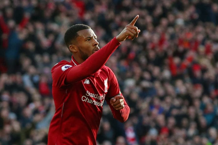 LIVERPOOL, ENGLAND - FEBRUARY 09: Georginio Wijnaldum of Liverpool celebrates after scoring his team's second goal during the Premier League match between Liverpool FC and AFC Bournemouth at Anfield on February 9, 2019 in Liverpool, United Kingdom. (Photo by Alex Livesey/Getty Images)