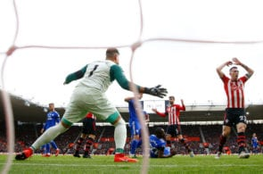 SOUTHAMPTON, ENGLAND - FEBRUARY 09: Jack Stephens and Pierre-Emile Hojbjerg of Southampton react after a missed chance during the Premier League match between Southampton FC and Cardiff City at St Mary's Stadium on February 9, 2019 in Southampton, United Kingdom. (Photo by Christopher Lee/Getty Images)
