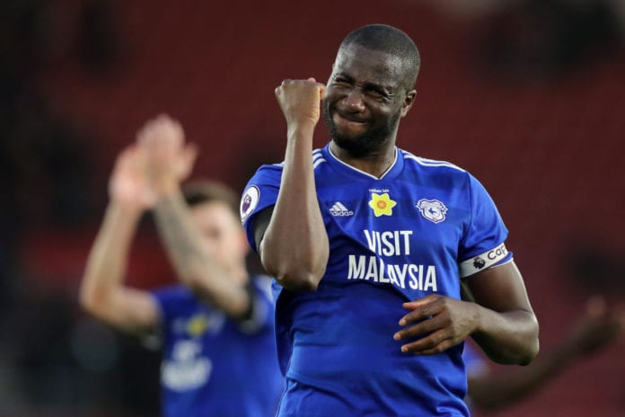 SOUTHAMPTON, ENGLAND - FEBRUARY 09: Sol Bamba of Cardiff City celebrates following the Premier League match between Southampton FC and Cardiff City at St Mary's Stadium on February 9, 2019 in Southampton, United Kingdom. (Photo by Christopher Lee/Getty Images)