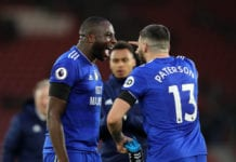 SOUTHAMPTON, ENGLAND - FEBRUARY 09: Sol Bamba of Cardiff City celebrates with teammate Callum Paterson after the Premier League match between Southampton FC and Cardiff City at St Mary's Stadium on February 9, 2019 in Southampton, United Kingdom. (Photo by Christopher Lee/Getty Images)