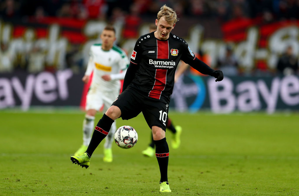 LEVERKUSEN, GERMANY - JANUARY 19: Julian Brandt of Bayer Leverkusen runs with the ball during the Bundesliga match between Bayer 04 Leverkusen and Borussia Moenchengladbach at BayArena on January 19, 2019 in Leverkusen, Germany. (Photo by Lars Baron/Bongarts/Getty Images)