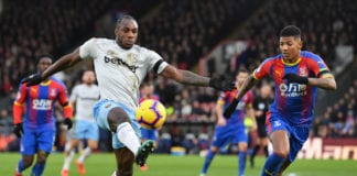 LONDON, ENGLAND - FEBRUARY 09: Michail Antonio of West Ham United is challenged by Patrick van Aanholt of Crystal Palace during the Premier League match between Crystal Palace and West Ham United at Selhurst Park on February 9, 2019 in London, United Kingdom. (Photo by Justin Setterfield/Getty Images)