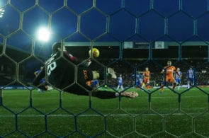 KILMARNOCK, SCOTLAND - FEBRUARY 09: Daniel Bachmann of Kilmarnock saves the penalty of James Tavernier of Rangers during the Scottish Cup 5th Round match between Kilmarnock and Rangers at Rugby Park on February 9, 2019 in Kilmarnock, Scotland. (Photo by Ian MacNicol/Getty Images)