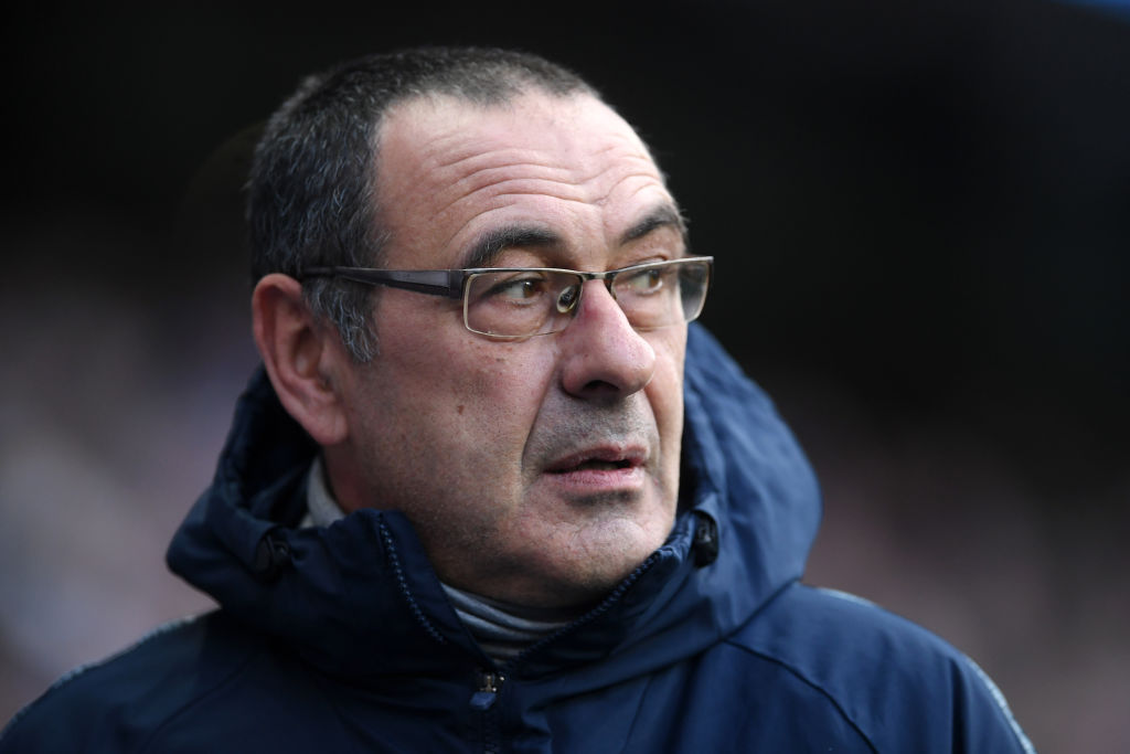 MANCHESTER, ENGLAND - FEBRUARY 10: Maurizio Sarri, Manager of Chelsea looks on prior to the Premier League match between Manchester City and Chelsea FC at Etihad Stadium on February 10, 2019 in Manchester, United Kingdom. (Photo by Laurence Griffiths/Getty Images)