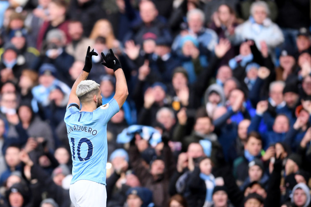MANCHESTER, ENGLAND - FEBRUARY 10: Sergio Aguero of Manchester City celebrates after scoring his team's second goal during the Premier League match between Manchester City and Chelsea FC at Etihad Stadium on February 10, 2019 in Manchester, United Kingdom. (Photo by Laurence Griffiths/Getty Images)