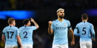 MANCHESTER, ENGLAND - FEBRUARY 10: Sergio Aguero of Manchester City celebrates after scoring his team's fifth goal during the Premier League match between Manchester City and Chelsea FC at Etihad Stadium on February 10, 2019 in Manchester, United Kingdom. (Photo by Michael Regan/Getty Images)
