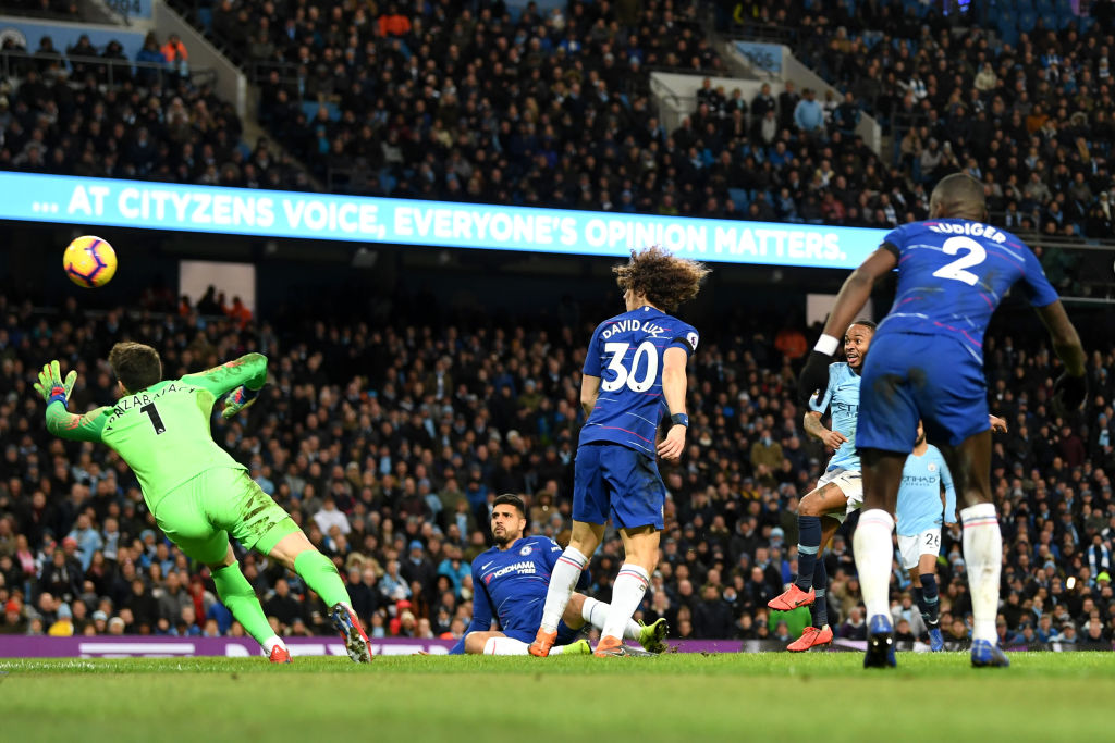 MANCHESTER, ENGLAND - FEBRUARY 10: Raheem Sterling of Manchester City scores his team's seventh goal during the Premier League match between Manchester City and Chelsea FC at Etihad Stadium on February 10, 2019 in Manchester, United Kingdom. (Photo by Michael Regan/Getty Images)