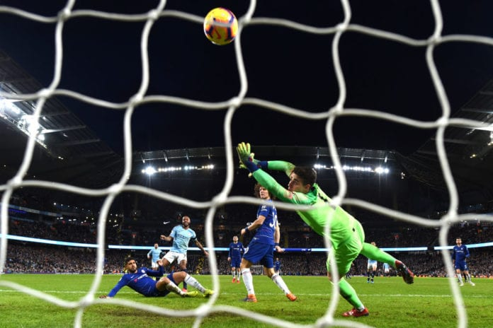 MANCHESTER, ENGLAND - FEBRUARY 10: Raheem Sterling of Manchester City scores his team's sixth goal past Kepa Arrizabalaga of Chelsea during the Premier League match between Manchester City and Chelsea FC at Etihad Stadium on February 10, 2019 in Manchester, United Kingdom. (Photo by Michael Regan/Getty Images)