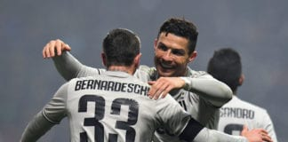 REGGIO NELL'EMILIA, ITALY - FEBRUARY 10: Cristiano Ronaldo of Juventus celebrates after scoring his team's second goal during the Serie A match between US Sassuolo and Juventus at Mapei Stadium - Citta' del Tricolore on February 10, 2019 in Reggio nell'Emilia, Italy. (Photo by Alessandro Sabattini/Getty Images)