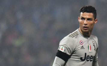 REGGIO NELL'EMILIA, ITALY - FEBRUARY 10: Cristiano Ronaldo of Juventus looks on during the Serie A match between US Sassuolo and Juventus at Mapei Stadium - Citta' del Tricolore on February 10, 2019 in Reggio nell'Emilia, Italy. (Photo by Alessandro Sabattini/Getty Images)