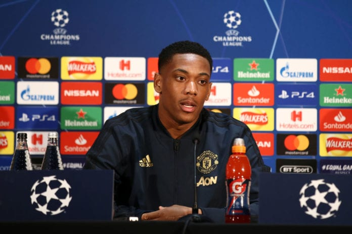 MANCHESTER, ENGLAND - FEBRUARY 11: Anthony Martial of Manchester United speaks to the media during a press conference ahead of their UEFA Champions League Round of 16 match against Paris Saint-Germain F.C. at Aon Training Complex on February 11, 2019 in Manchester, England. (Photo by Jan Kruger/Getty Images)