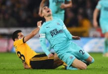 WOLVERHAMPTON, ENGLAND - FEBRUARY 11: Miguel Almiron of Newcastle United is fouled by Joao Moutinho of Wolverhampton Wanderers during the Premier League match between Wolverhampton Wanderers and Newcastle United at Molineux on February 11, 2019 in Wolverhampton, United Kingdom. (Photo by Stu Forster/Getty Images)