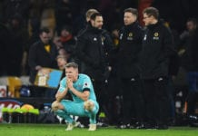 WOLVERHAMPTON, ENGLAND - FEBRUARY 11: Matt Ritchie of Newcastle United looks dejected after the Premier League match between Wolverhampton Wanderers and Newcastle United at Molineux on February 11, 2019 in Wolverhampton, United Kingdom. (Photo by Stu Forster/Getty Images)