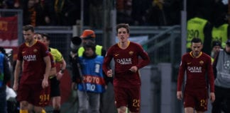 ROME, ITALY - FEBRUARY 12: Nicolo' Zaniolo #22 of AS Roma celebrates after scoring the team's first goal during the UEFA Champions League Round of 16 First Leg match between AS Roma and FC Porto at Stadio Olimpico on February 12, 2019 in Rome. (Photo by Paolo Bruno/Getty Images)