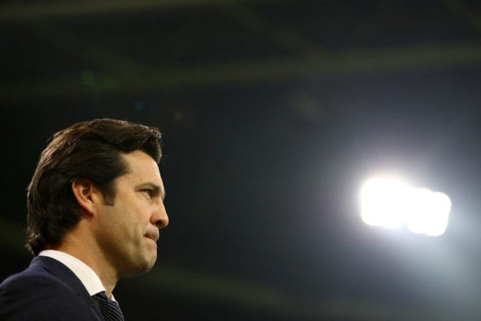 AMSTERDAM, NETHERLANDS - FEBRUARY 13: Santiago Solari, Manager of Real Madrid looks on prior to the UEFA Champions League Round of 16 First Leg match between Ajax and Real Madrid at Johan Cruyff Arena on February 13, 2019 in Amsterdam, Netherlands. (Photo by Dean Mouhtaropoulos/Getty Images)