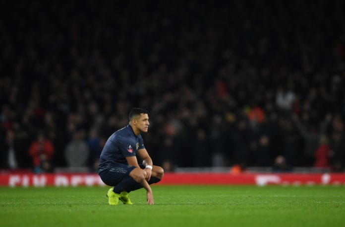 LONDON, ENGLAND - JANUARY 25: Alexis Sanchez of Manchester United looks on during the FA Cup Fourth Round match between Arsenal and Manchester United at Emirates Stadium on January 25, 2019 in London, United Kingdom. (Photo by Mike Hewitt/Getty Images)