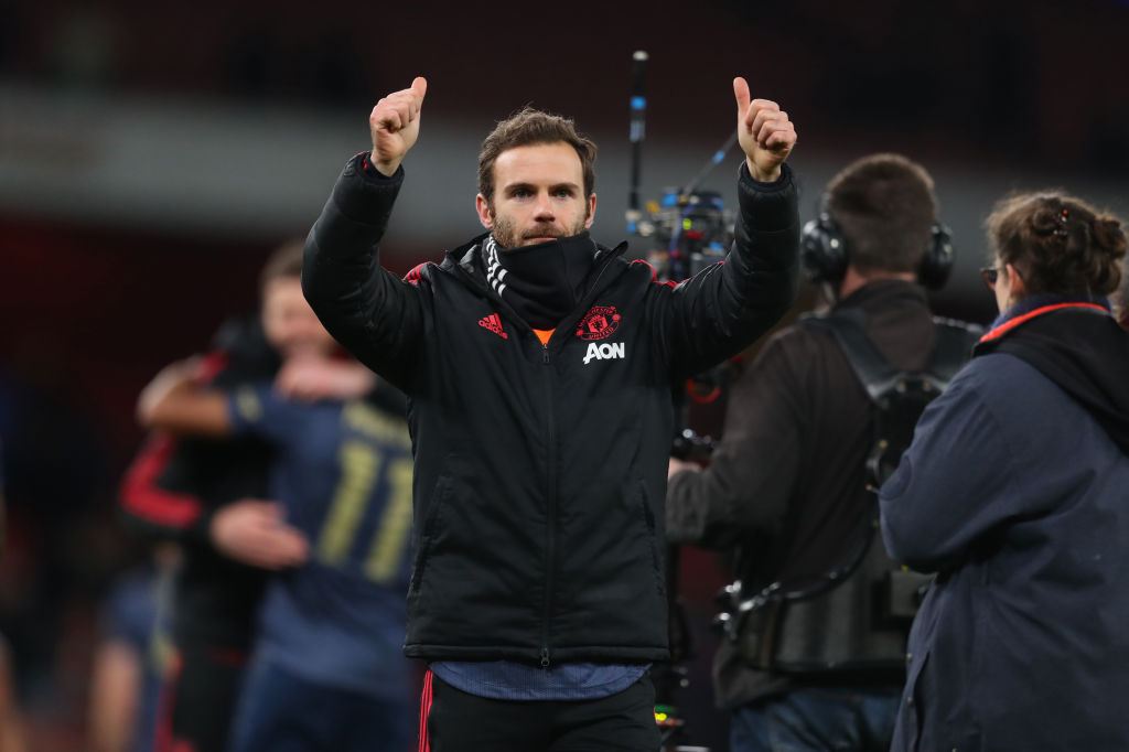 LONDON, ENGLAND - JANUARY 25: Juan Mata of Manchester United applauds after the FA Cup Fourth Round match between Arsenal and Manchester United at Emirates Stadium on January 25, 2019 in London, United Kingdom. (Photo by Catherine Ivill/Getty Images)