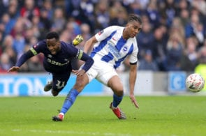 BRIGHTON, ENGLAND - FEBRUARY 16: Florian Jozefzoon of Derby County is challenged by Bernardo Fernandes da Silva of Brighton and Hove Albion during the FA Cup Fifth Round match between Brighton and Hove Albion and Derby County at Amex Stadium on February 16, 2019 in Brighton, United Kingdom. (Photo by Richard Heathcote/Getty Images)
