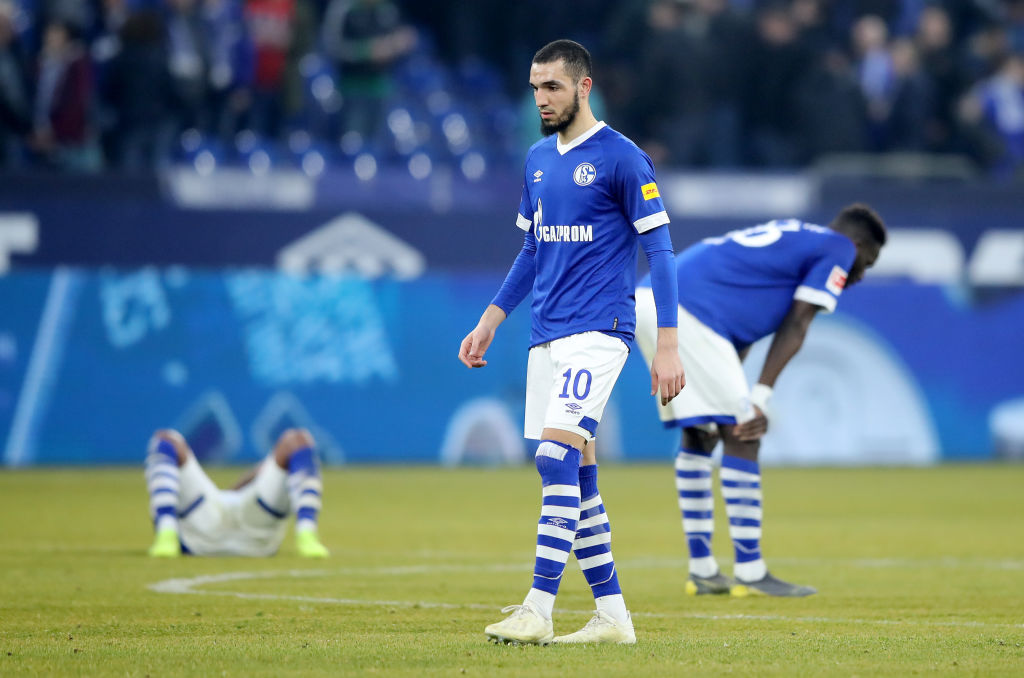GELSENKIRCHEN, GERMANY - FEBRUARY 16: Nabil Bentaleb of FC Schalke 04 reacts after the Bundesliga match between FC Schalke 04 and Sport-Club Freiburg at Veltins-Arena on February 16, 2019 in Gelsenkirchen, Germany. (Photo by Christof Koepsel/Bongarts/Getty Images)