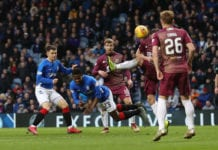 GLASGOW, SCOTLAND - FEBRUARY 16: Lassana Coulibaly of Rangers heads at goal during the Ladbrookes Scottish Premiership match between Rangers and St Johnstone at Ibrox Stadium on February 16, 2019 in Glasgow, Scotland. (Photo by Ian MacNicol/Getty Images)