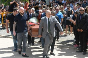 PROGRESO, ARGENTINA - FEBRUARY 16: Football player of Nantes Nicolas Pallois (L) carries the coffin together with Sala's relatives after a vigil at Sala's boyhood club San Martin de Progreso on February 16, 2019 in Progreso, Argentina. 28-year-old striker was killed when the private plane carrying him from Nantes to Cardiff crashed in the English Channel near Alderney on January 21. Sala's body was recovered from the wreckage on February 6 and pilot David Ibbotson remains missing. (Photo by Gustavo Garello/Getty Images)