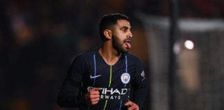 NEWPORT, WALES - FEBRUARY 16: Riyad Mahrez of Manchester City celebrates after scoring his team's fourth goal during the FA Cup Fifth Round match between Newport County AFC and Manchester City at Rodney Parade on February 16, 2019 in Newport, United Kingdom. (Photo by Harry Trump/Getty Images)