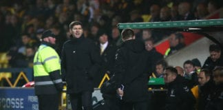 LIVINGSTON, SCOTLAND - JANUARY 27: Steven Gerrard, Manager of Rangers reacts during the Ladbrokes Premiership match between Livingston and Rangers at Tony Macaroni Arena on January 27, 2019 in Livingston, United Kingdom. (Photo by Ian MacNicol/Getty Images)