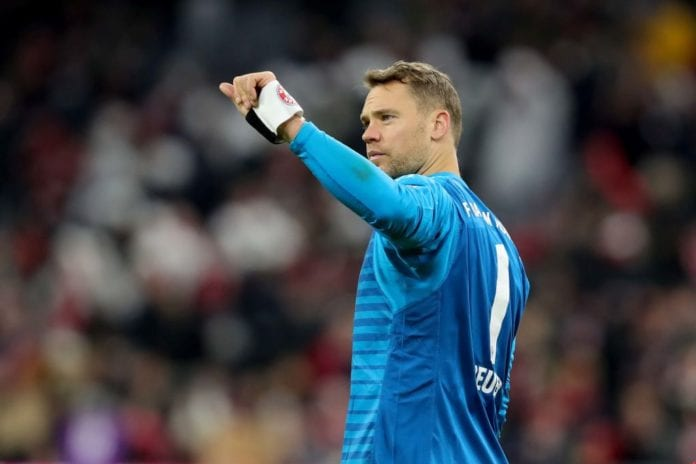 MUNICH, GERMANY - JANUARY 27: Manuel Neuer of Muenchen reacts after the Bundesliga match between FC Bayern Muenchen and VfB Stuttgart at Allianz Arena on January 27, 2019 in Munich, Germany. (Photo by Alexander Hassenstein/Bongarts/Getty Images)