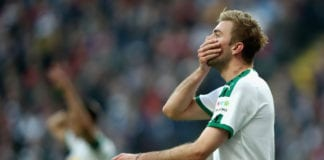 FRANKFURT AM MAIN, GERMANY - FEBRUARY 17: Christoph Kramer of Borussia Moenchengladbach reacts during the Bundesliga match between Eintracht Frankfurt and Borussia Moenchengladbach at Commerzbank-Arena on February 17, 2019 in Frankfurt am Main, Germany. (Photo by Alex Grimm/Bongarts/Getty Images)