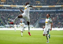 FRANKFURT AM MAIN, GERMANY - FEBRUARY 17: Denis Zakaria of Borussia Moenchengladbach celebrates his goal during the Bundesliga match between Eintracht Frankfurt and Borussia Moenchengladbach at Commerzbank-Arena on February 17, 2019 in Frankfurt am Main, Germany. (Photo by Alex Grimm/Bongarts/Getty Images)