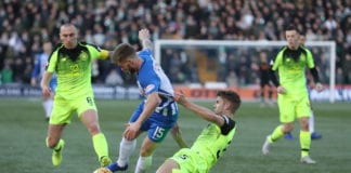 KILMARNOCK, SCOTLAND - FEBRUARY 17: Connor McAleny of Kilmarnock vies with Kristoffer Ajer of Celtic during he Scottish Ladbrokes Premiership match between Kilmarnock and Celtic at Rugby Park on February 17, 2019 in Kilmarnock, Scotland. (Photo by Ian MacNicol/Getty Images)