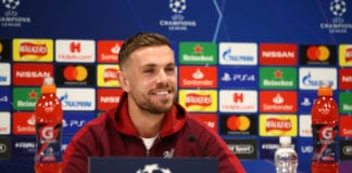 LIVERPOOL, ENGLAND - FEBRUARY 18: Jordan Henderson of Liverpool speaks to the media during a Liverpool Press Conference at Melwood Training Ground on February 18, 2019 in Liverpool, England. (Photo by Clive Brunskill/Getty Images)