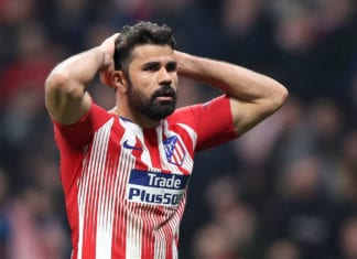 MADRID, SPAIN - FEBRUARY 20: Diego Costa of Atletico Madrid reacts during the UEFA Champions League Round of 16 First Leg match between Club Atletico de Madrid and Juventus at Estadio Wanda Metropolitano on February 20, 2019 in Madrid, Spain. (Photo by Angel Martinez/Getty Images)
