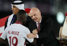 ABU DHABI, UNITED ARAB EMIRATES - FEBRUARY 01: Gianni Infantino, president of FIFA congratulates Almoez Ali of Qatar following the AFC Asian Cup final match between Japan and Qatar at Zayed Sports City Stadium on February 01, 2019 in Abu Dhabi, United Arab Emirates. (Photo by Francois Nel/Getty Images)