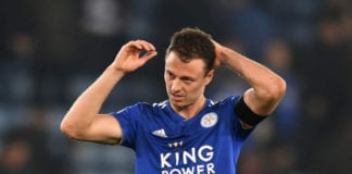 LEICESTER, ENGLAND - FEBRUARY 23: Jonny Evans of Leicester City looks dejected during the Premier League match between Leicester City and Crystal Palace at The King Power Stadium on February 23, 2019 in Leicester, United Kingdom. (Photo by Michael Regan/Getty Images)