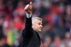 MANCHESTER, ENGLAND - FEBRUARY 24: Ole Gunnar Solskjaer, Interim Manager of Manchester United acknowledges the fans after the Premier League match between Manchester United and Liverpool FC at Old Trafford on February 24, 2019 in Manchester, United Kingdom. (Photo by Laurence Griffiths/Getty Images)