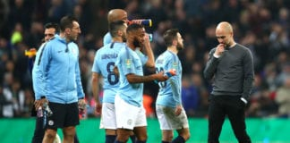 LONDON, ENGLAND - FEBRUARY 24: Josep Guardiola, Manager of Manchester City talks to Bernardo Silva, Ilkay Gundogan and Vincent Kompany of Manchester City at the half way point of extra time during the Carabao Cup Final between Chelsea and Manchester City at Wembley Stadium on February 24, 2019 in London, England. (Photo by Clive Rose/Getty Images)