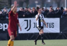 VINOVO, ITALY - FEBRUARY 03: Barbara Bonansea of Juventus celebrates after scoring the opening goal during the Women Serie A match between Juventus Women and AS Roma at Juventus Center Vinovo on February 03, 2019 in Vinovo, Italy. (Photo by Tullio M. Puglia/Getty Images)