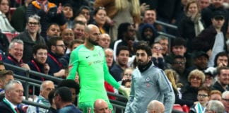 LONDON, ENGLAND - FEBRUARY 24: Willy Caballero of Chelsea reacts as Kepa Arrizabalaga refuses to be substituted during the Carabao Cup Final between Chelsea and Manchester City at Wembley Stadium on February 24, 2019 in London, England. (Photo by Clive Rose/Getty Images)